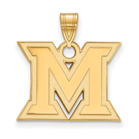 Sterling Silver w/GP LogoArt Miami University Medium Pendant