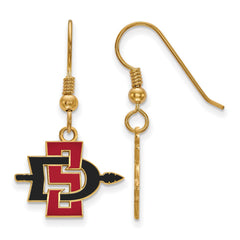 Sterling Silver w/GP LogoArt San Diego State University Small Dangle Earrin