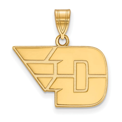 Sterling Silver w/GP LogoArt University of Dayton Medium Pendant