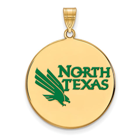 Sterling Silver w/GP LogoArt University of North Texas XL Enamel Disc Penda