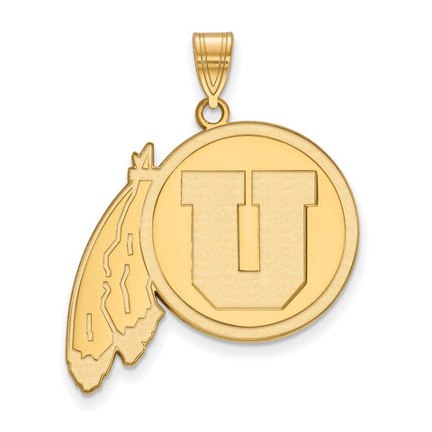 Sterling Silver w/GP LogoArt University of Utah XL Pendant