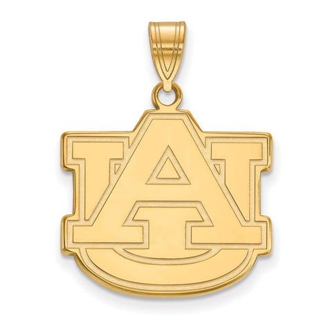 Sterling Silver w/GP LogoArt Auburn University Large Pendant