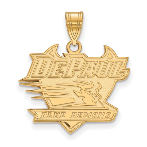 Sterling Silver w/GP LogoArt DePaul University Large Pendant