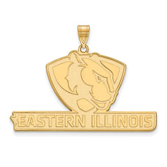 Sterling Silver w/GP LogoArt Eastern Illinois University XL Pendant
