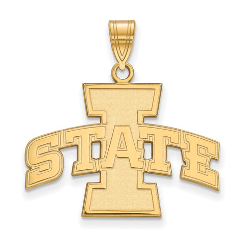 Sterling Silver w/GP LogoArt Iowa State University Large Pendant