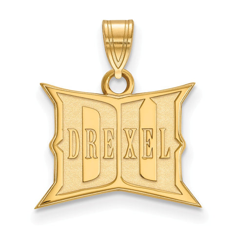 Sterling Silver w/GP LogoArt Drexel University Small Pendant