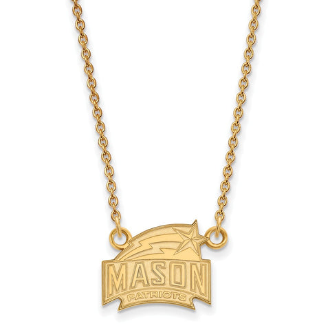 10ky LogoArt George Mason University Small Pendant w/Necklace