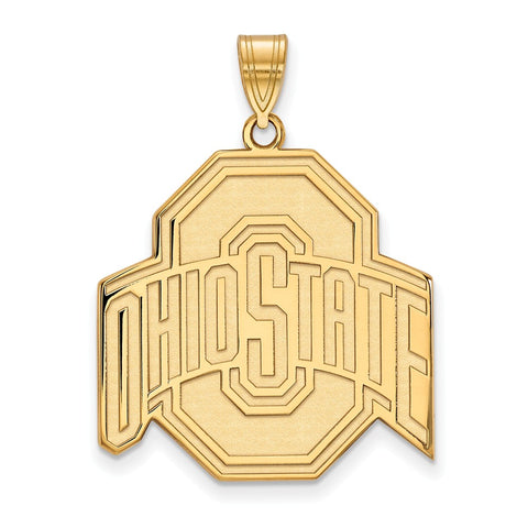 Sterling Silver w/GP LogoArt Ohio State University XL Pendant