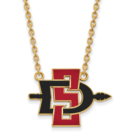 10ky LogoArt San Diego State University Large Pendant w/Necklace