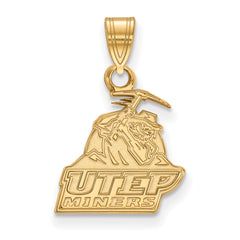 Sterling Silver w/GP LogoArt The University of Texas at El Paso Small Penda