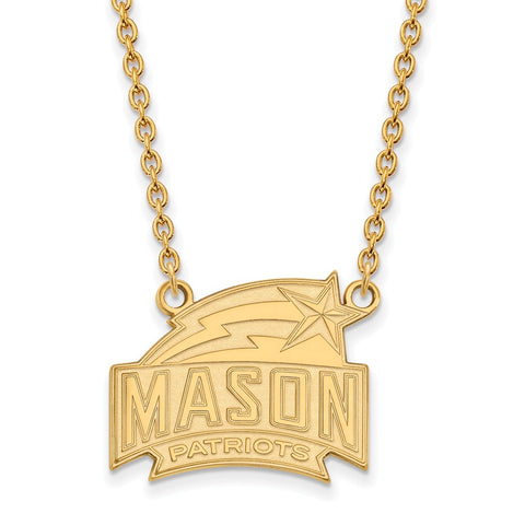 14ky LogoArt George Mason University Large Pendant w/Necklace