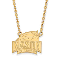 Sterling Silver w/GP LogoArt George Mason U Large Pendant w/Necklace