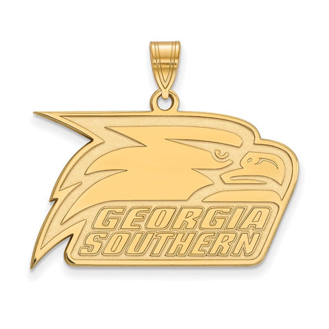 Sterling Silver w/GP LogoArt Georgia Southern University Large Pendant