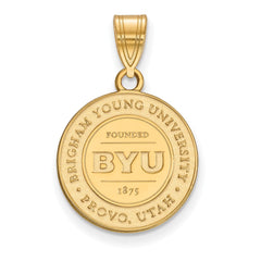 Sterling Silver w/GP LogoArt Brigham Young University Medium Crest Pendant