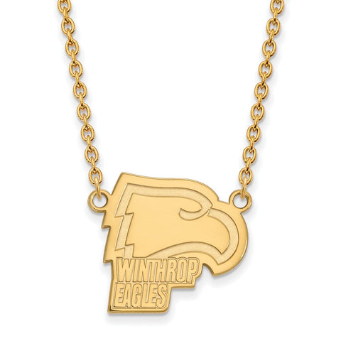 14ky LogoArt Winthrop University Large Pendant w/Necklace