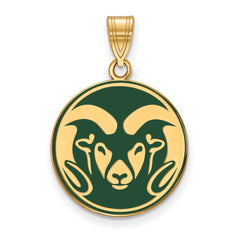Sterling Silver w/GP LogoArt Colorado State University Large Enl Pendant