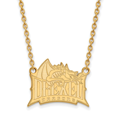 14ky LogoArt Drexel University Large Pendant w/Necklace