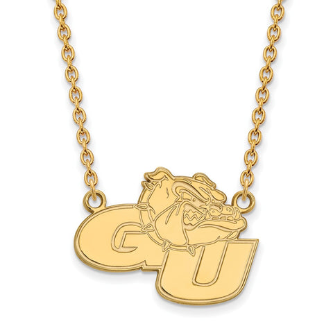 Sterling Silver w/GP LogoArt Gonzaga University Large Pendant w/Necklace