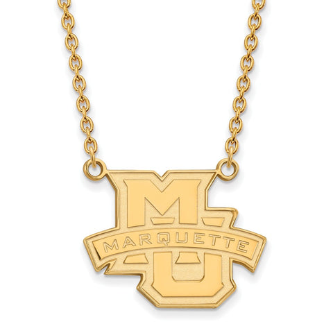 Sterling Silver w/GP LogoArt Marquette University Large Pendant w/Necklace