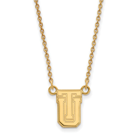 Sterling Silver w/GP LogoArt The University of Tulsa Small Pendant w/Neckla