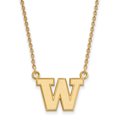 14ky LogoArt University of Washington Small Pendant w/Necklace