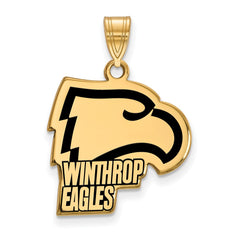 Sterling Silver w/GP LogoArt Winthrop University Large Enamel Pendant