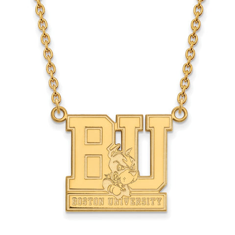 14ky LogoArt Boston University Large Pendant w/Necklace