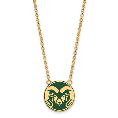 Sterling Silver w/GP LogoArt Colorado State U Enamel Lg Pendant w/Necklace
