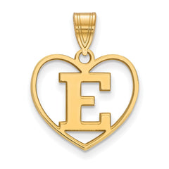 Sterling Silver w/GP LogoArt Eastern Michigan University Pendant in Heart