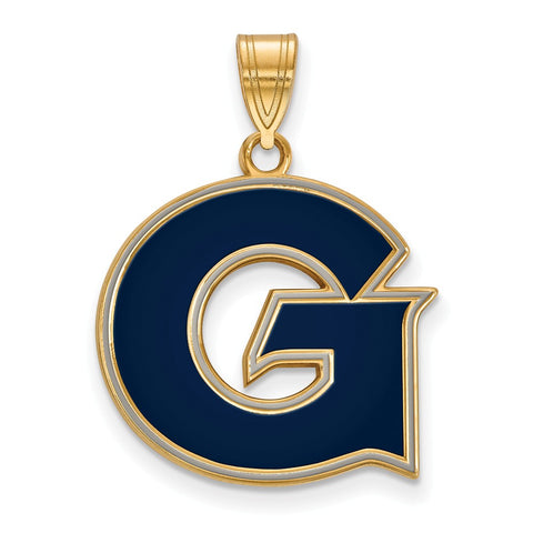 Sterling Silver w/GP LogoArt Georgetown University Large Enamel Pendant