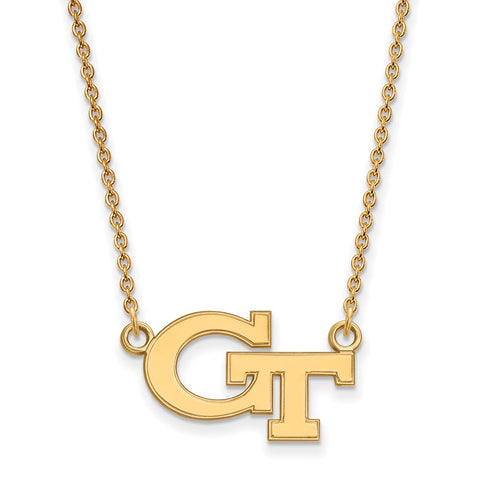 10ky LogoArt Georgia Institute of Technology Small Pendant w/Necklace