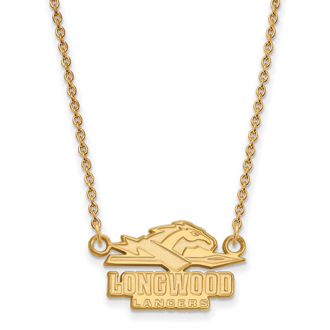 14ky LogoArt Longwood University Small Pendant w/Necklace