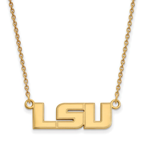 Sterling Silver w/GP LogoArt Louisiana State U Small Pendant w/Necklace