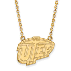 Sterling Silver w/GP LogoArt The U of Texas at El Paso Lg Pendant w/Necklac