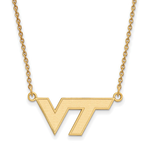10ky LogoArt Virginia Tech Small Pendant w/Necklace