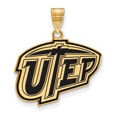 Sterling Silver w/GP LogoArt The U of Texas at El Paso Large Enamel Pendant