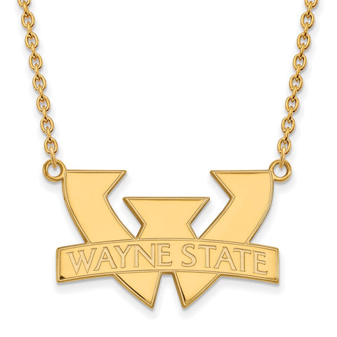 14ky LogoArt Wayne State University Large Pendant w/Necklace