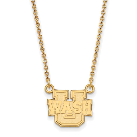 14ky LogoArt Washington University in St. Louis Small Pendant w/Necklace