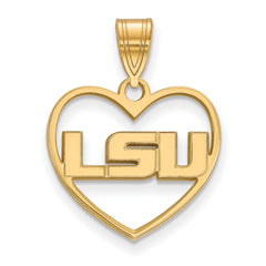 Sterling Silver w/GP LogoArt Louisiana State University Pendant in Heart