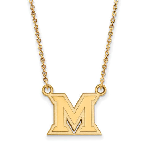 10ky LogoArt Miami University Small Pendant w/Necklace