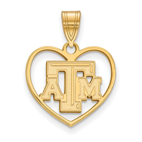 Sterling Silver w/GP LogoArt Texas A&M University Pendant in Heart