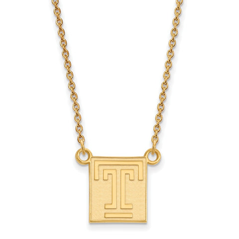10ky LogoArt Temple University Small Pendant w/Necklace