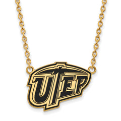 Sterling Silver w/GP LogoArt The U of Texas at El Paso Lg Enl Pend w/Neckla