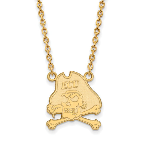 10ky LogoArt East Carolina University Large Pendant w/Necklace
