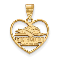 Sterling Silver w/GP LogoArt Longwood University Pendant in Heart