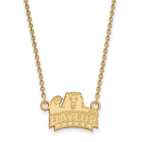 10ky LogoArt Baylor University Small Pendant w/Necklace