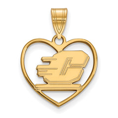 Sterling Silver w/GP LogoArt Central Michigan University Pendant in Heart