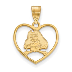 Sterling Silver w/GP LogoArt East Carolina University Pendant in Heart