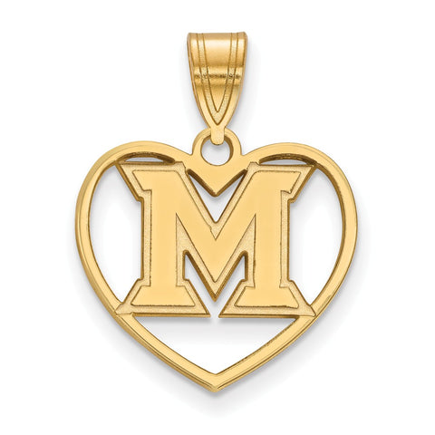 Sterling Silver w/GP LogoArt Miami University Pendant in Heart