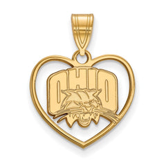 Sterling Silver w/GP LogoArt Ohio University Pendant in Heart